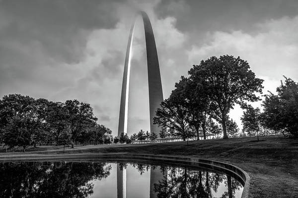 Photograph - Clouds Over Saint Louis Gateway National Park In Black And White by Gregory Ballos