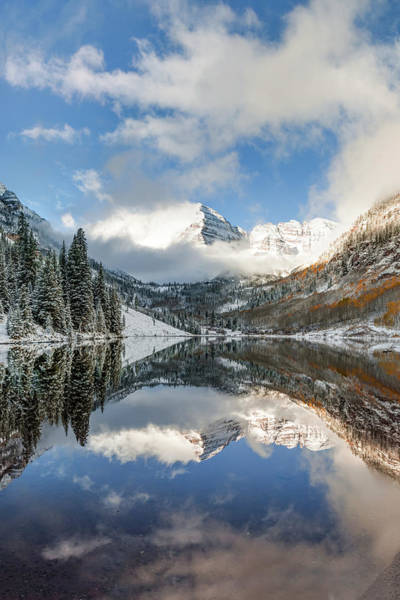 Photograph - Clouds Over The Maroon Bells - Aspen Colorado by Gregory Ballos