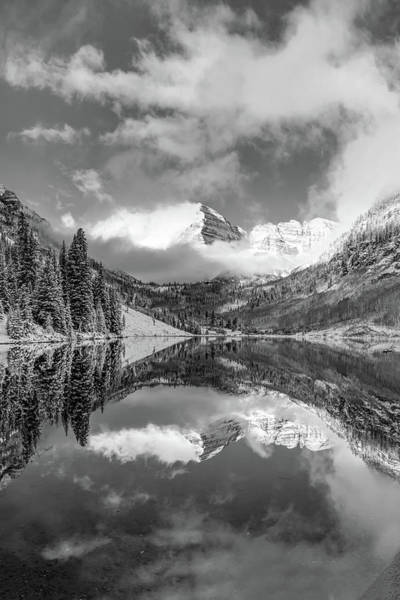 Photograph - Clouds Over The Maroon Bells In Black And White - Aspen Colorado by Gregory Ballos