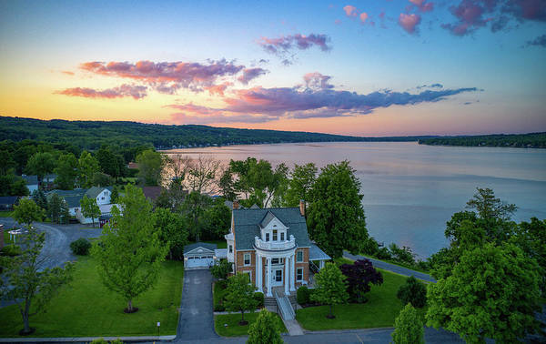 Photograph - Clouds Pink Keuka Lake by Ants Drone Photography