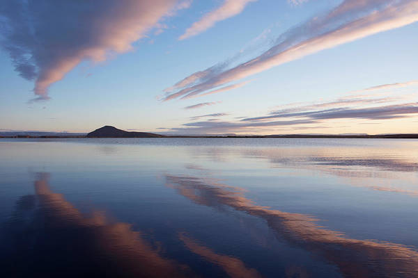 Bishop Hill Photograph - Clouds Reflected In Lake Myvatn by Sue Bishop