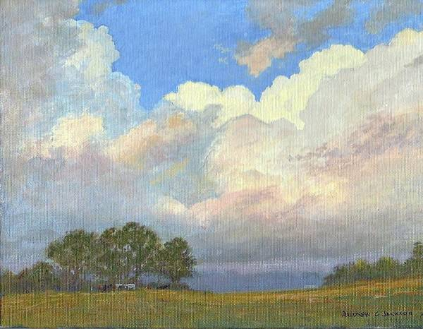Andrew Jackson Wall Art - Painting - Cloudscape With Cattle by Andrew Jackson