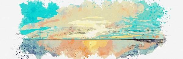 Painting - Cloudy Beach, C 2019 Watercolor, By Adam Asar by Adam Asar