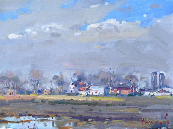 Wall Art - Painting - Cloudy Day At The Farm by Ylli Haruni