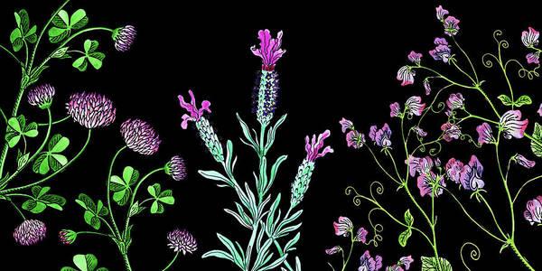 Lucky Clover Painting - Clover Lavender And Sweet Pea Wildflowers by Irina Sztukowski