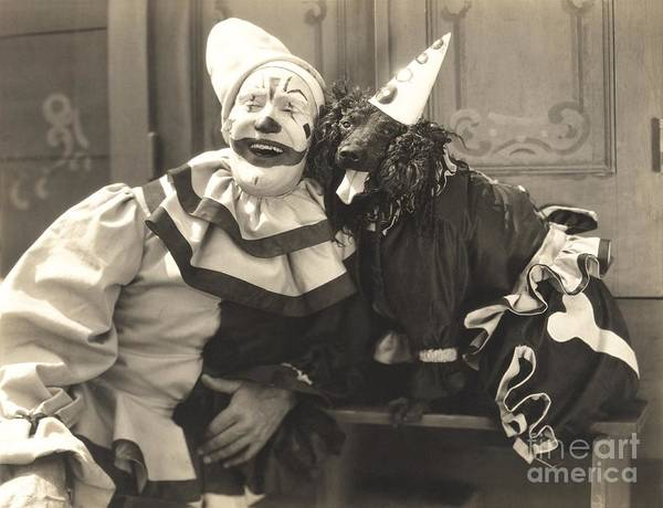 Wall Art - Photograph - Clown Posing With Dog Dressed In Clown by Everett Collection