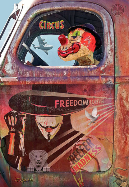 Wall Art - Photograph - Clowns Drive In The Circus by Joseph J Stevens