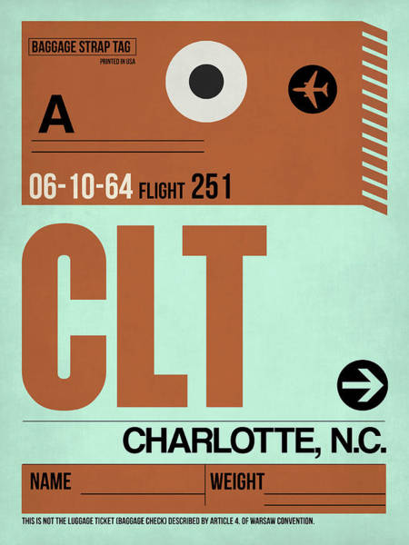 Wall Art - Digital Art - Clt Charlotte Luggage Tag I by Naxart Studio