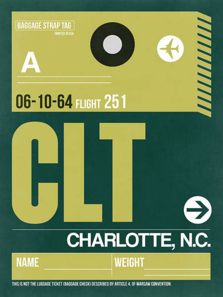 Charlotte Wall Art - Digital Art - Clt Charlotte Luggage Tag II by Naxart Studio