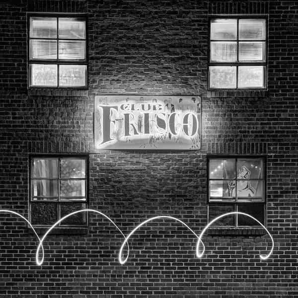 Photograph - Club Frisco Neon And Four Windows - Rogers Arkansas Monochrome 1x1 by Gregory Ballos
