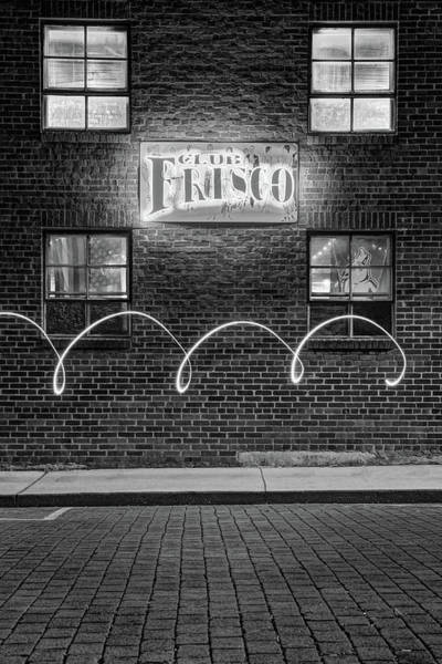 Photograph - Club Frisco Neon And Four Windows - Rogers Arkansas Monochrome by Gregory Ballos