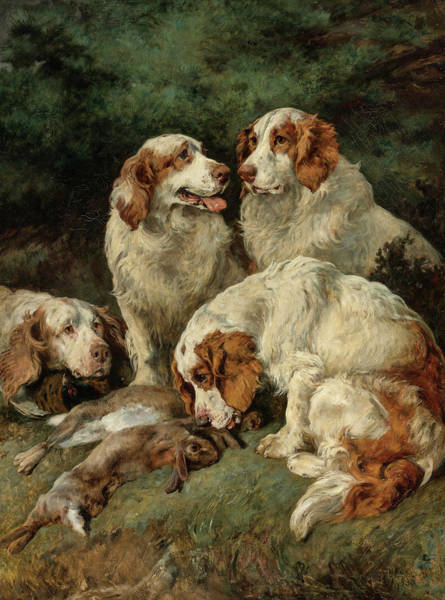 Field Spaniel Painting - Clumber Spaniels With The Day's Bag, 19th Century by John Emms