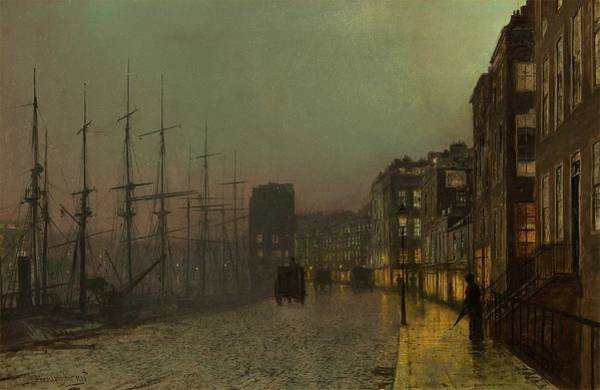 Wall Art - Painting - Clyde Shipping, Wet Moonlit Night 1883 By John Atkinson Grimshaw by John Atkinson Grimshaw