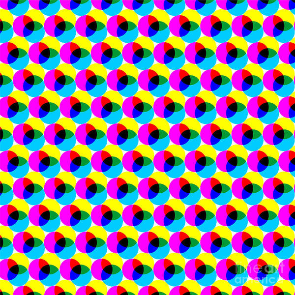 Wall Art - Digital Art - Cmyk Circles. Abstract Colorful Dotted by Don Pablo