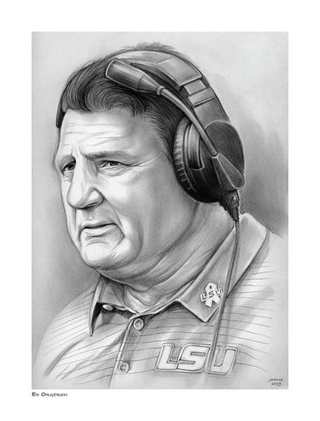 Wall Art - Drawing - Coach Ed Orgeron by Greg Joens