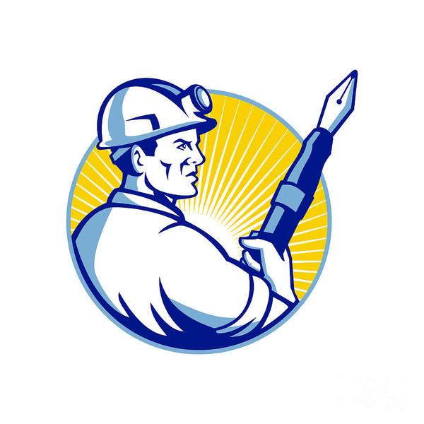 Journalist Digital Art - Coal Miner Fountain Pen Mascot by Aloysius Patrimonio