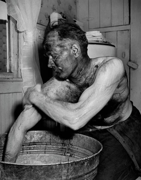Miners Photograph - Coal Miner Mabrey Evans Scrubbing His Ar by Alfred Eisenstaedt
