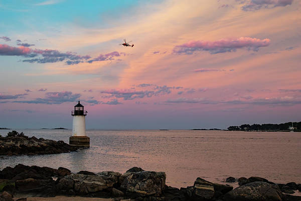 Photograph - Coast Guard Rescue Over Winter Island by Jeff Folger