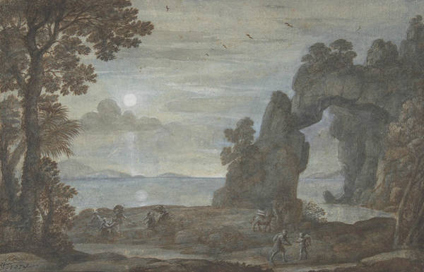 Wall Art - Drawing - Coast View With Perseus And The Origin Of Coral by Claude Lorrain
