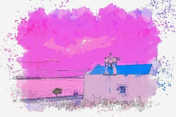 Painting - Coastal Church -  Watercolor By Adam Asar by Adam Asar