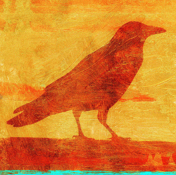 Wall Art - Mixed Media - Coastal Crow Two by Carol Leigh