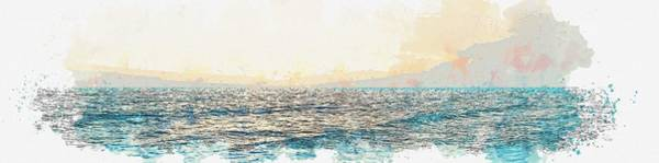 Painting - coastal horizon watercolor by Ahmet Asar by Celestial Images