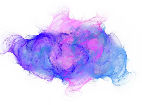 Wall Art - Digital Art - Coastal Ink Blue And Pink Fractal by Betsy Knapp