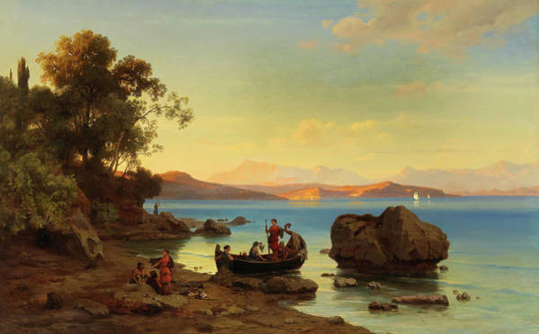 Wall Art - Painting - Coastal Landscape With Amazons by Max Schmidt