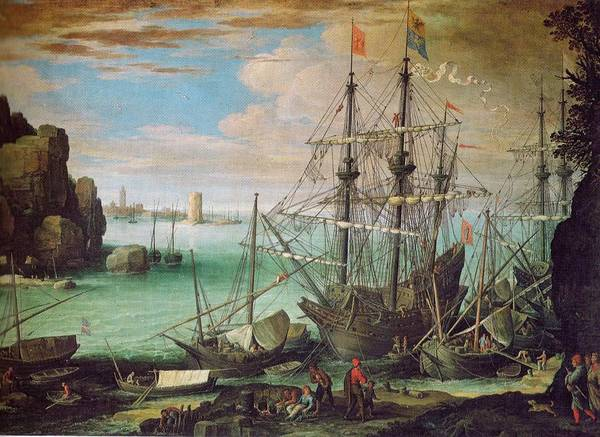 Wall Art - Painting - Coastal Landscape With Harbor  by Paul Brill