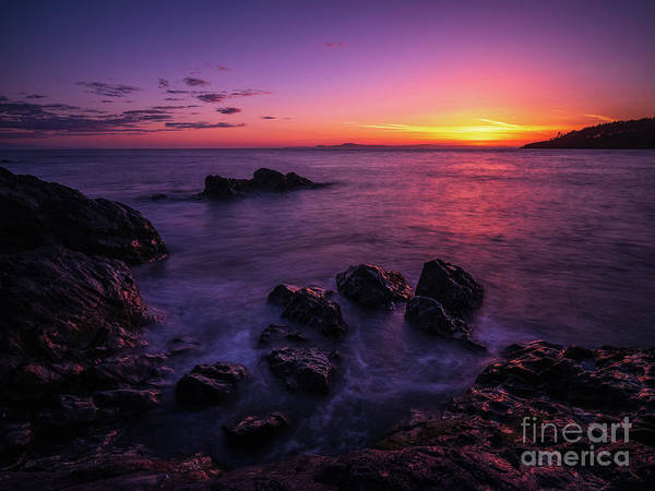 Wall Art - Photograph - Coastal Last Light On The Rocks by Mike Reid