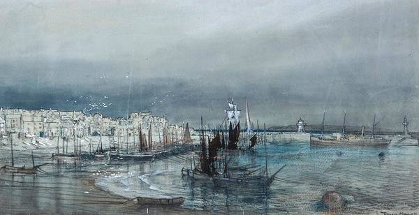 Wall Art - Painting - Coastal View Of A Harbour by MotionAge Designs