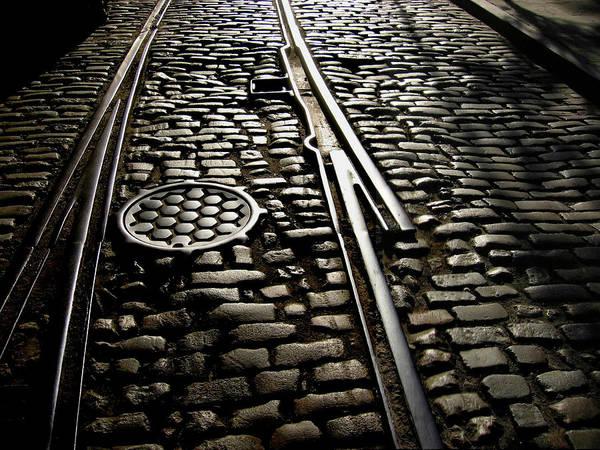 Merge Wall Art - Photograph - Cobblestones In Railway Track, New York by © Rick Elkins