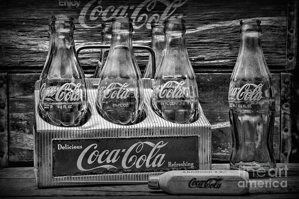 Wall Art - Photograph -  Coca-cola 1950s Metal Carrier Black And White by Paul Ward
