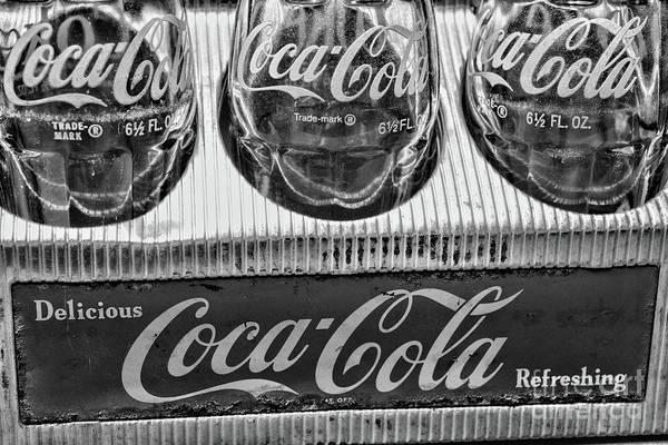 Wall Art - Photograph - Coca-cola 1950s Metal Carrier Close Up Black And White by Paul Ward