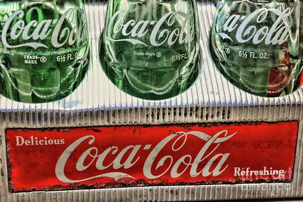 Wall Art - Photograph -  Coca-cola 1950s Metal Carrier Close Up  by Paul Ward