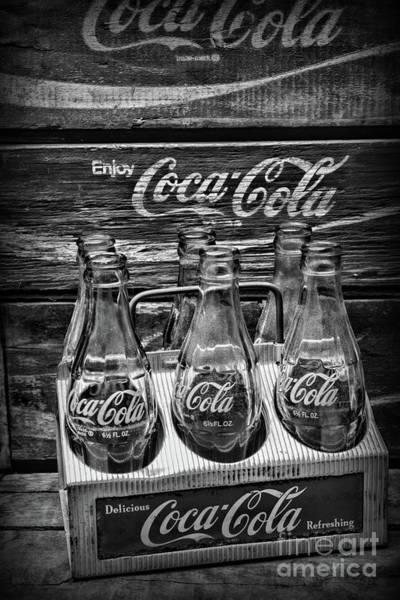 Wall Art - Photograph -  Coca-cola 1950s Metal Carrier Horizontal Black And White by Paul Ward