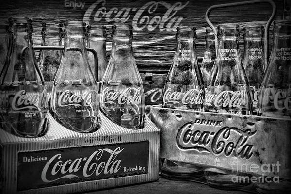 Wall Art - Photograph - Coca-cola 1950s Metal Carrier Six Packs Black And White by Paul Ward