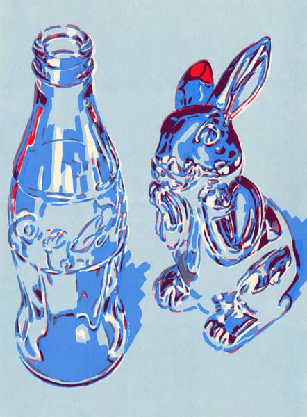 Soda Pop Mixed Media - Coca-cola Bottle And Hare Art Print by Vitali Komarov