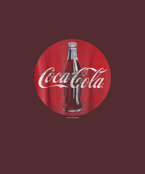 Wall Art - Digital Art - Coca-cola Distressed Retro Bottle Disc Logo Graphic T-shirt by Unique Tees
