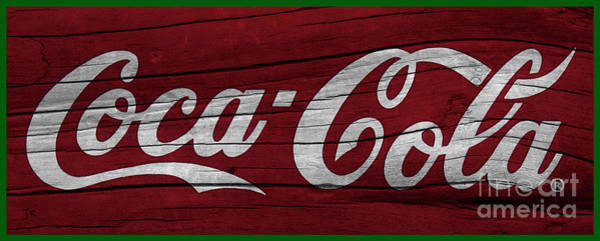 Wall Art - Photograph - Coca Cola Sign On Dark Red Weathered Wood Green Border by John Stephens