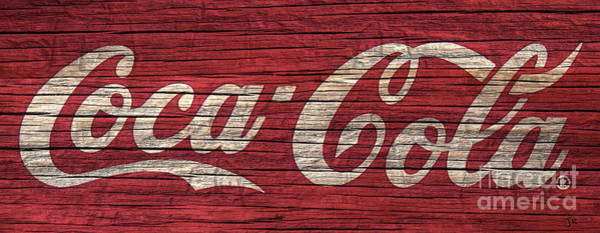 Wall Art - Photograph - Coca Cola Sign On Rustic Red Weathered Wood Grain by John Stephens