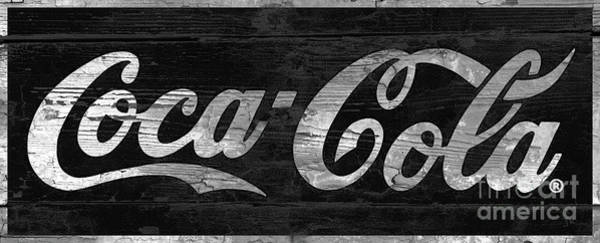 Wall Art - Photograph - Coca Cola Sign On Weathered Wood And Paint Black And White by John Stephens