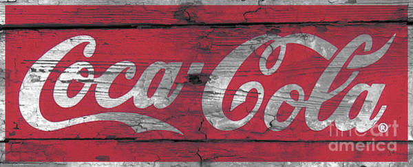 Wall Art - Photograph - Coca Cola Sign On Weathered Wood And Paint by John Stephens