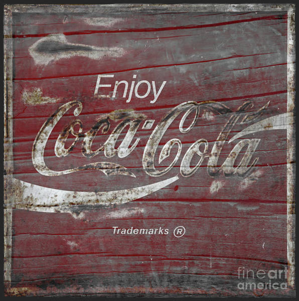 Wall Art - Photograph - Coca Cola Sign On Weathered Wood by John Stephens