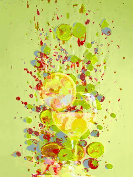 Slice Digital Art - Cocktail And Fruit Against Splatterd by Roz Woodward
