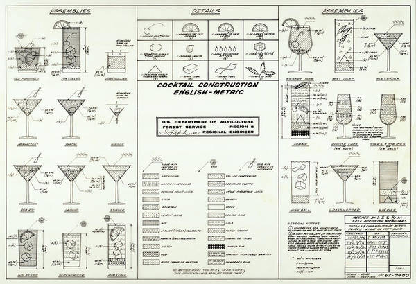 Cocktail Lounge Photograph - Cocktail Construction Blueprint - Dept Of Agriculture 1974 by Daniel Hagerman