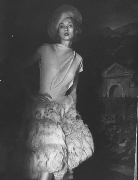 Cocktail Photograph - Cocktail Dress With Fur Skirt And Matchi by Gordon Parks