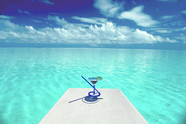 Diving Board Photograph - Cocktail Glass On Diving Board Over Sea by Eddie Hironaka