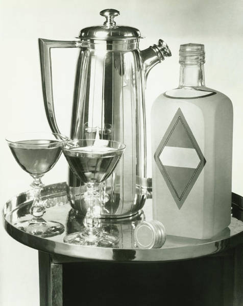 Cocktail Shaker Photograph - Cocktail Shaker, Two Glasses And Bottle by George Marks