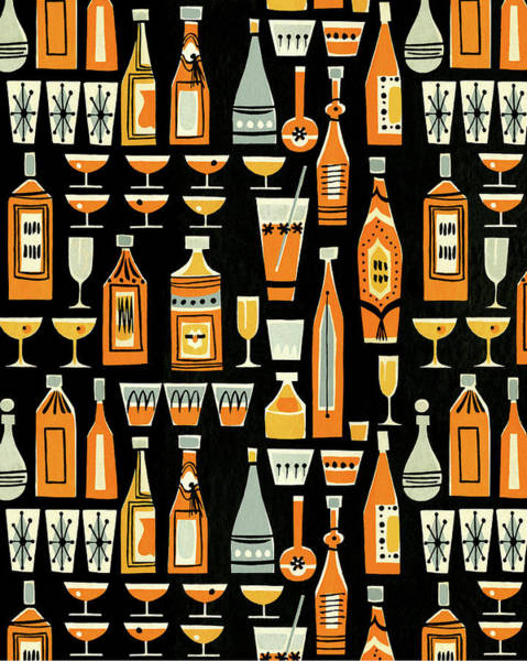 Digital Art - Cocktails And Liquor Bottle Pattern by Csa Images